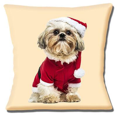 "Shih Tzu Dog Cushion Cover 16""x16"" 40cm Wearing Christmas Santa Hat and Coat"
