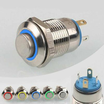 12V LED Beleuchtet Momentaner Druckschalter Metall Drucktaster On/Off Druckknopf