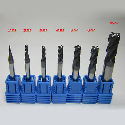 7pc 4 Flutes Tungsten Carbide End Mill Set Straight Shank Cnc Tool 1mm-8mm