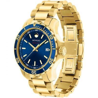 Movado Series 800 2600144 Blue Dial Gold-Tone Watch Swiss Quartz Men's 40MM