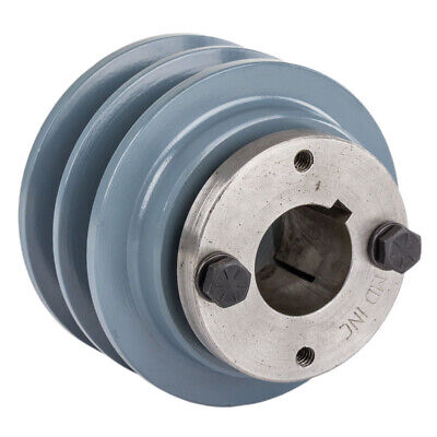 Cast Iron 3.35 2 Groove Dual Belt B Section 5l Pulley And 1-14 Sheave Bushing