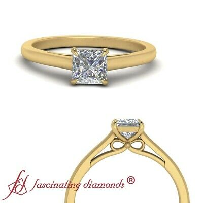 .50 Ctw Princess Diamond Cathedral Solitaire Engagement Ring In 18K Yellow Gold