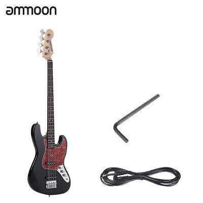 ammoon Solid Wood 4-string Electric Bass Guitar Includes Gui