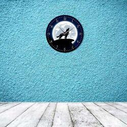 Wall Clock Wolf With Moon Decorative for Living Room Quartz Circular Antique