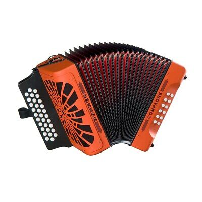 Hohner Compadre Accordion F/Bb/Eb, Orange, w/ Gig Bag