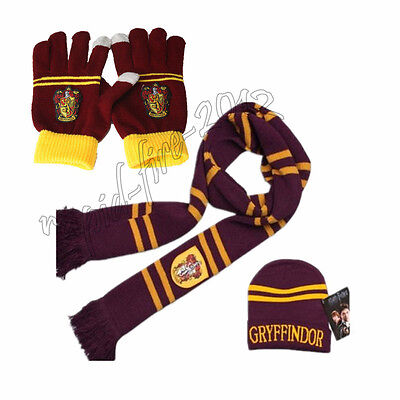 Harry Potter Hat (3pcs Harry Potter Gryffindor House Scarf+Cap/Hat + Gloves Warm Costume Xmas)