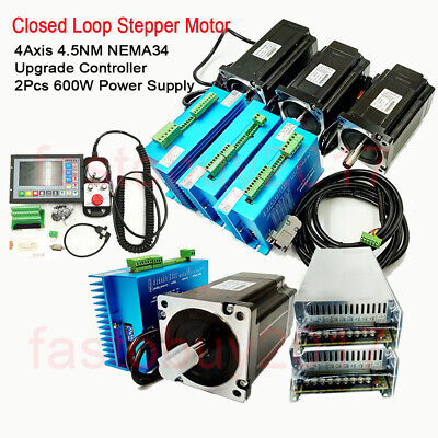 4axis Closed Loop Stepper Motor Nema34 4.5nm Driver Controllerpower Supply Kit