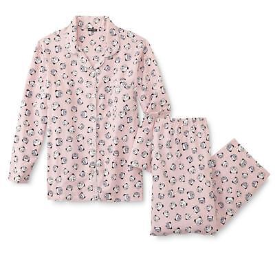 Joe Boxer 2-Piece Flannel Women's Pajama / Sleepwear Set  Pink Panda Print  ()