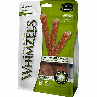 WHIMZEES Natural Grain Free Dental Dog Treats, Large Veggie Sausage, Bag of 7