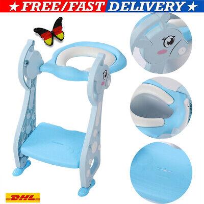 Faltbar Toilettentrainer mit Treppe für Kinder Lerntöpfchen Toilettensitz Sitz