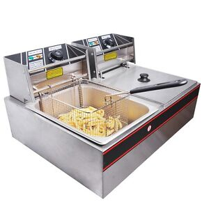 5000W 12L Stainless Steel Electric Countertop Deep Fryer Dual Tank Commercial
