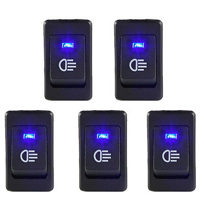 Hotsystem 5pcs 12v 35a Car Fog Light Rocker Switch 4pins Blue Led Dash Dashboard