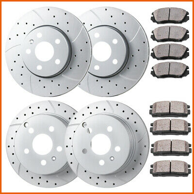 Front Rear Drill Slot Brake Rotors And Ceramic Pads For Chevy Equinox Terrain