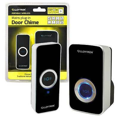 32 Chime Wireless Door Bell Cordless 150M Range Quality LLOYTRON Melody Black