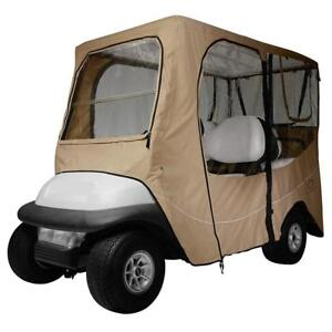 New  Classic Accessories Fairway Golf Cart Deluxe Enclosure, Khaki, Short Roof Condition: used