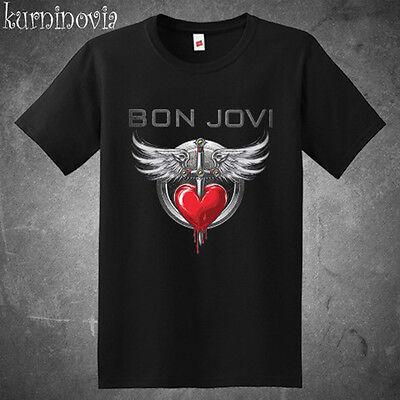 New Bon Jovi Rock Band Tour Logo Mens Black T Shirt Size S To 3Xl