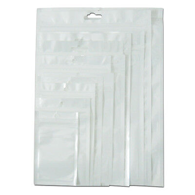 100x Zip Lock White Clear Plastic Bag Hang Hole Packaging Pouches For Accessory