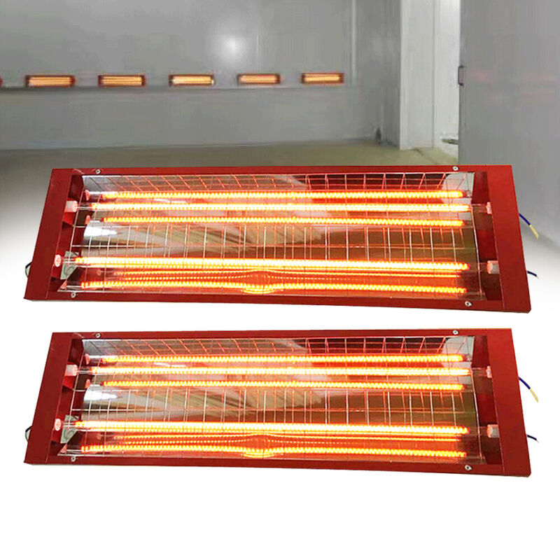 2X 2000W Spray/Baking Booth Infrared Paint Curing Lamp Heating Light Durable110V