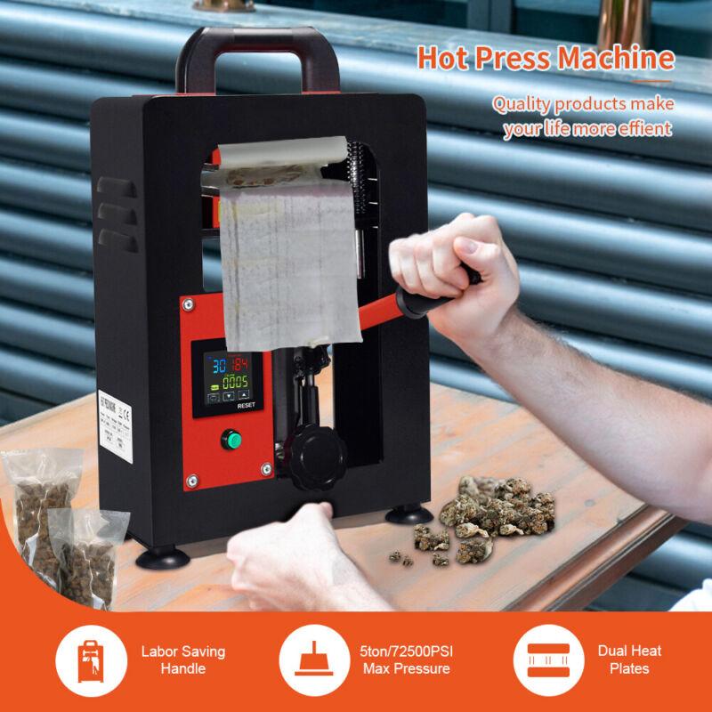 5Ton Heat Press Machine 3x5 inch Dual Dab Heated Plates LCD Controller Hydraulic