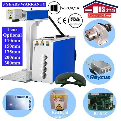 Usa 20w Split Fiber Laser Marking Engraver Engraving Machine With Rotary Axis
