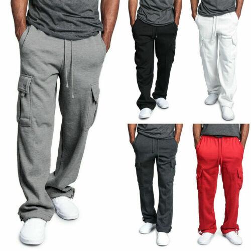 Men Jogger Heavy Weight Fleece Cargo Pocket Sweat Pants Casual Loose Trousers
