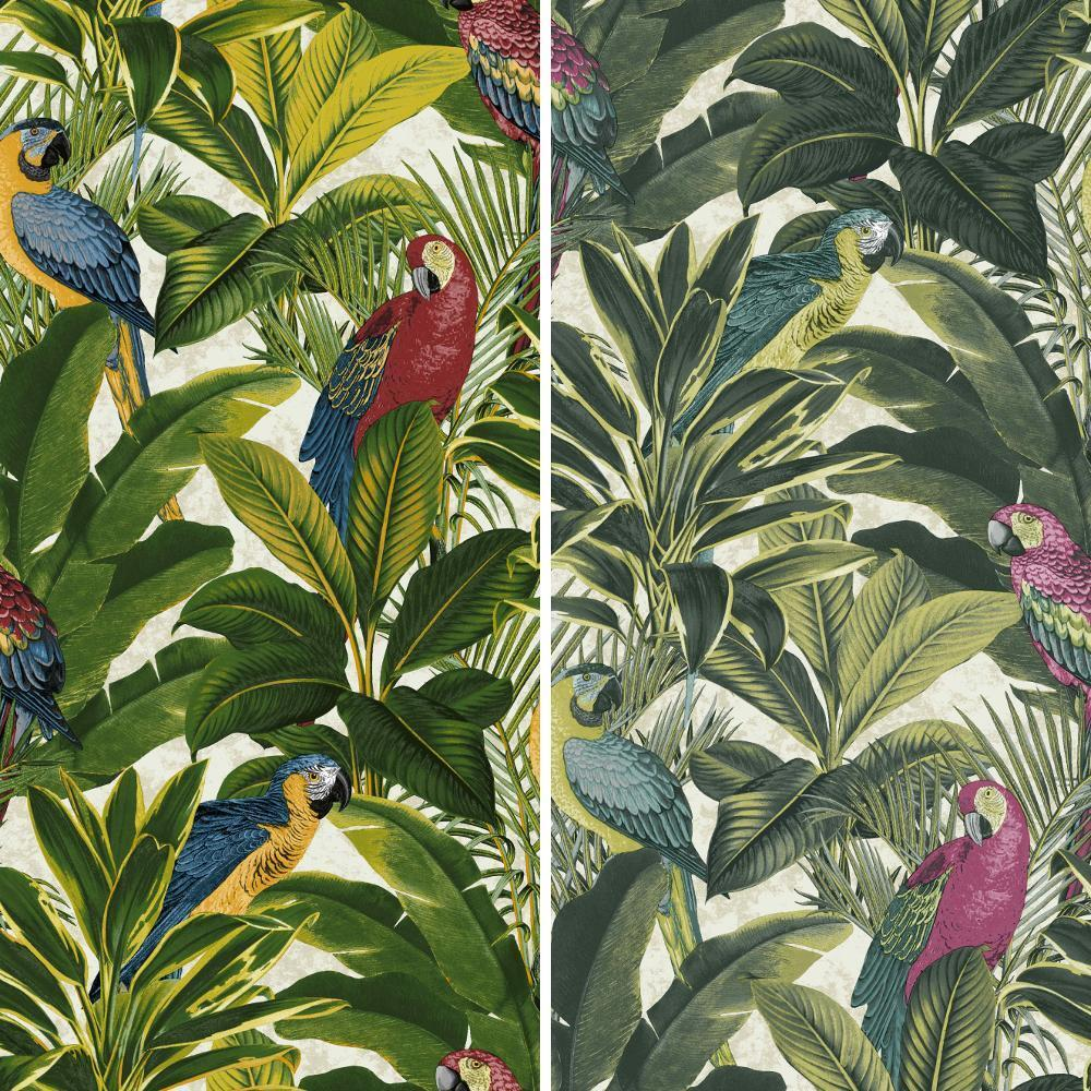 new grandeco ideco exotic bird pattern parrot motif. Black Bedroom Furniture Sets. Home Design Ideas