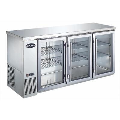 New 72 3 Glass Door Back Bar Cooler Saba Sbb-24-72gss 4468 Beer Refrigerator