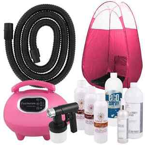 Spray Tanning Kit Machine with Airbrush Tan Solution and Pink Tent