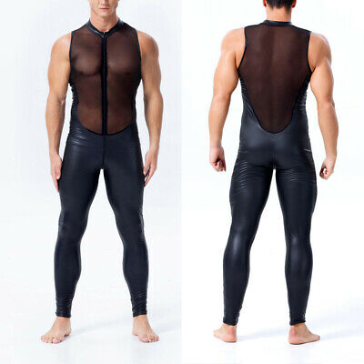 Herren Wetlook Catsuit Kostüm Leder Mesh Patchwork Jumpsuit Bodysuit - Schwarzer Bodysuit Kostüm