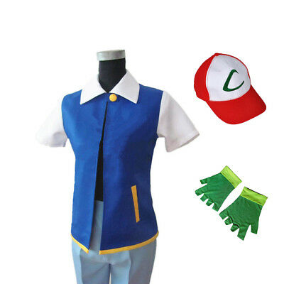 Anime Ash Ketchum Trainer Costume Halloween Cosplay Shirt Jacket + Gloves + Hat