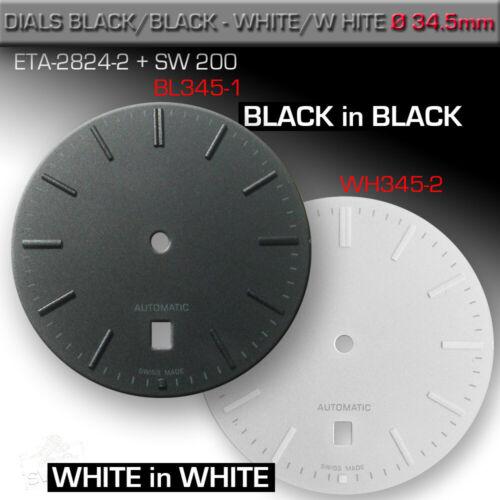 DIAL, ETA 2824-2 + SW 200, Ø 34.5 MM,  DATE 6,  BLACK + WHITE