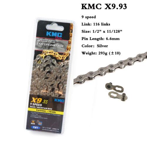 KMC X8.93//X9.93 Chain 6//7//8//9 Speed 116L Durable MTB Road Bike fit Shimano/&SRAM