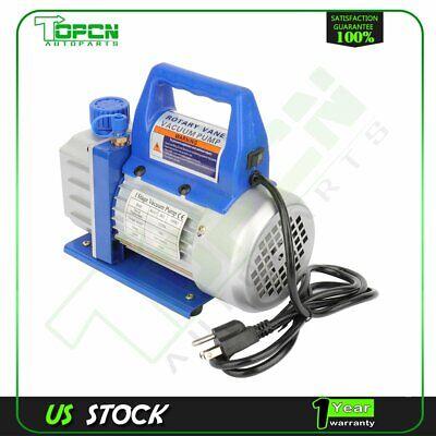 3 CFM 1/4 HP Blue 1 Stage Rotary Vane Deep Vacuum Pump HVAC AC Air tool Kit