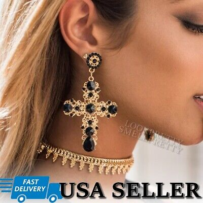 Vintage Cross Dangle Drop Earrings Crystal Gold Black Bohemian Charm Geometric Black Bead Drop Earrings
