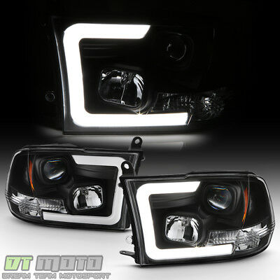 Black 2009-2018 Dodge Ram 1500 2500 3500 LED Tube Projector Headlights Headlamps
