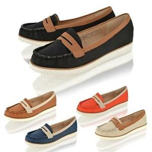 WOMENS-LADIES-FLAT-CASUAL-LOAFERS-SLIP-ON-PUMPS-COMFORT-BOAT-DECK-SHOES-SIZE-3-8