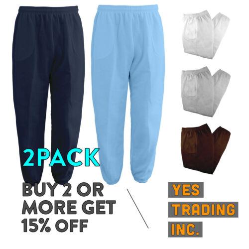 2 Pack Mens Womens Unisex Plain Sweatpants 3 Pocket Casual Joggers Fleece Pants