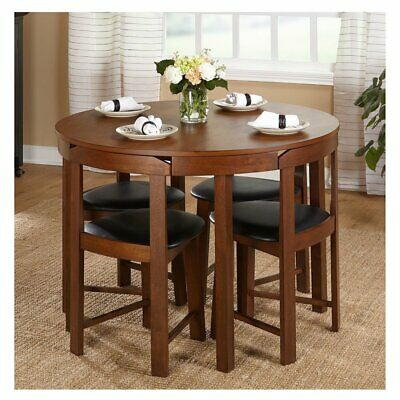 Compact Dining Set 5 Piece Round Walnut Kitchen Small Table Wood Space Saving