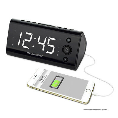 Magnasonic Alarm Clock Radio with USB Charging for Smartphones & Tablets