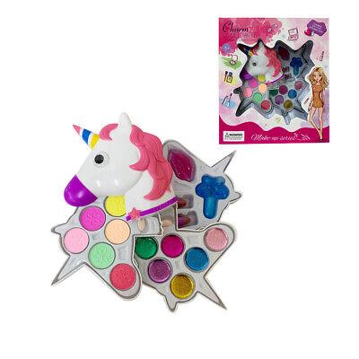 Kids Girls Cosmetic Unicorn Shaped Washable Eye Shadows & Lip Glosses Makeup set