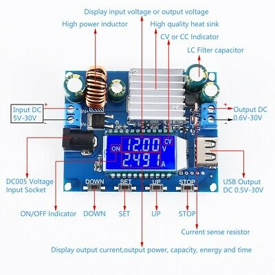 Dc-dc Buck Boost Power Supply Module Adjustable Voltage Converter Solar Charging