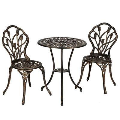 Garden Furniture - 3pc Patio Bistro Furniture Set Outdoor Garden Iron Table Chair Bronze Sturdy New