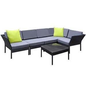Stackable 6 pcs Black Wicker Rattan 5 Seater Outdoor Lounge Set North Melbourne Melbourne City Preview