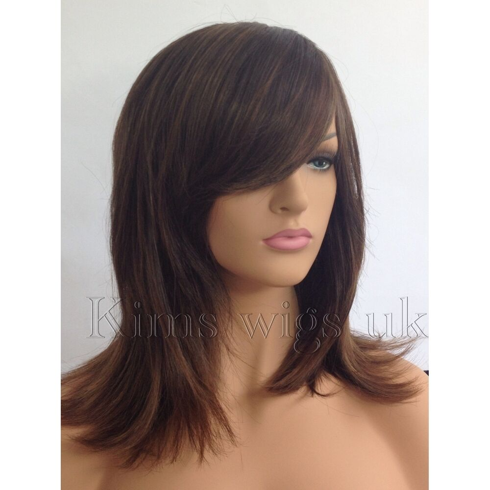 Details about FULL WOMENS LADIES FASHION HAIR WIG TWO TONE BROWN SHOULDER LENGTH FACE FRAME