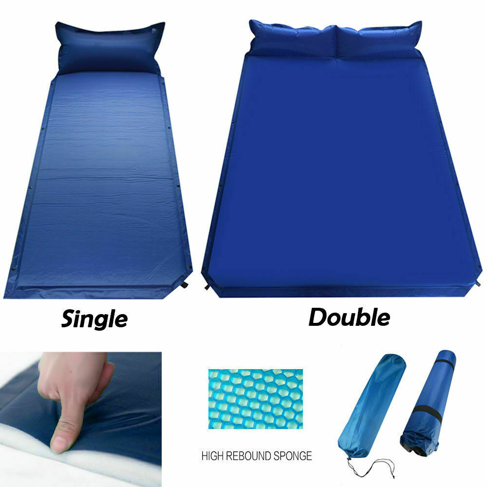 Double/Single Sleeping Bed Self-Inflating Air Mat Pad Pillow