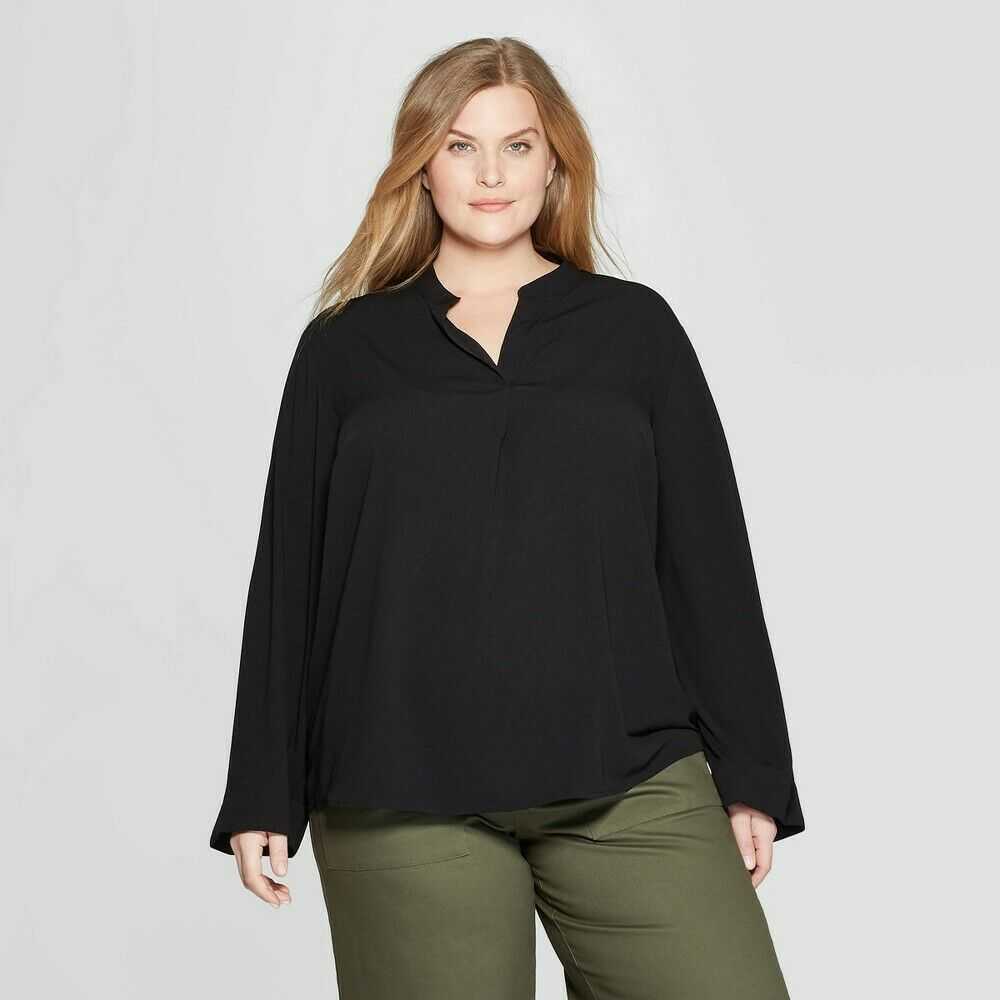 Women's Plus Size Long Sleeve V-Neck Popover Blouse – Prologue Black 2X Clothing, Shoes & Accessories