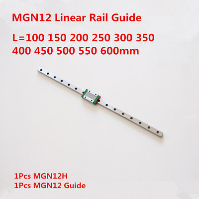 12mm Miniature Linear Rail Guide Mgn12 100-600mm Mgn12h Sliding Block Cnc