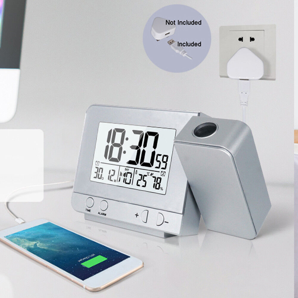 Digital Projection LED screen Alarm Clock with Weather Station Indoor Outdoor