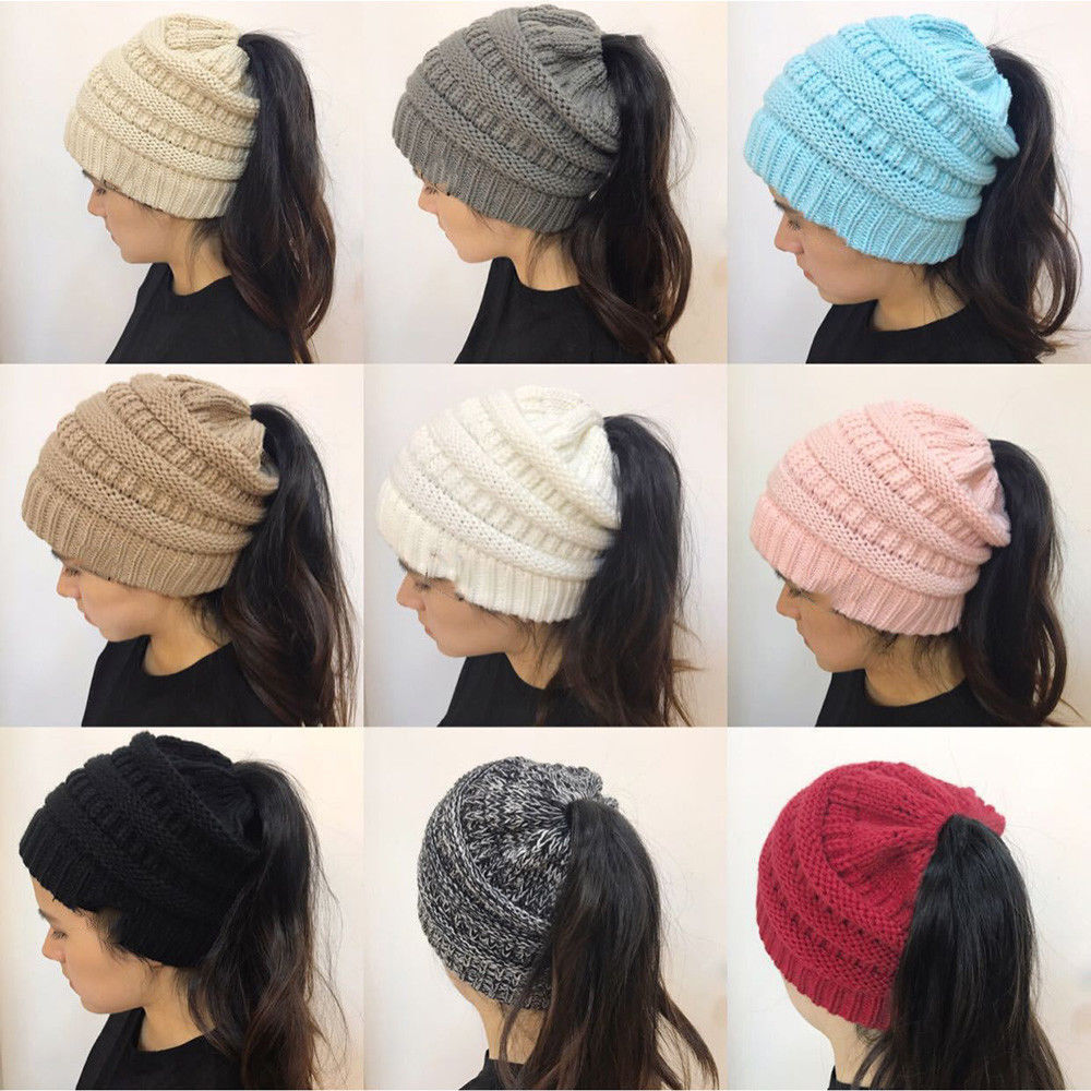 Women Tail Messy Soft Beanie Bun Hat Ponytail Stretchy Knitted