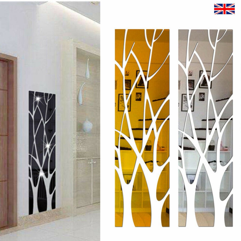 Home Decoration - 3D Tree Mirror Wall Sticker Removable DIY Art Decal Home Decor Mural Acrylic UK